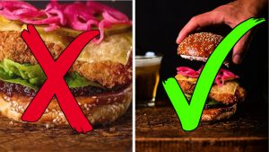 Close up of a burger with red x and zoomed out of burger with green tick