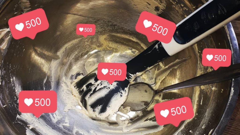 Instagram likes on a baking mixing bowl